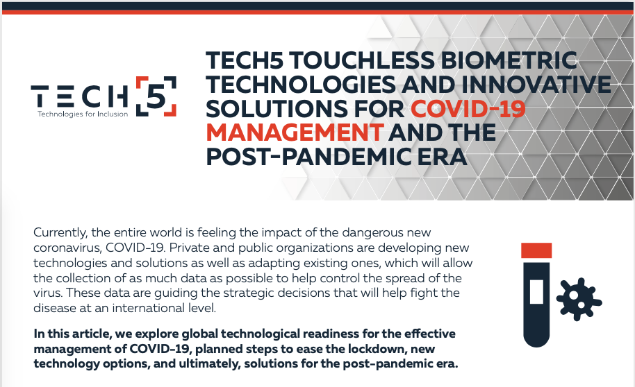Tech5 Touchless Biometric Technologies and Innovative solutions for Covid-19