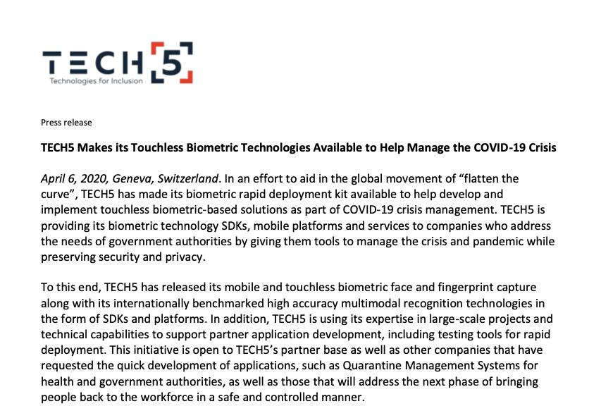 Tech5 Press Release